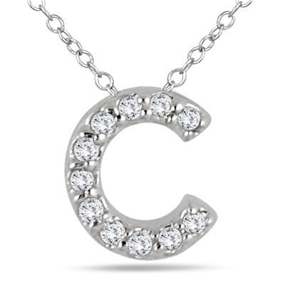 1/10 Carat TW C Initial Diamond Pendant in 10K White Gold