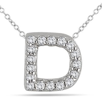 1/10 Carat TW D Initial Diamond Pendant in 10K White Gold