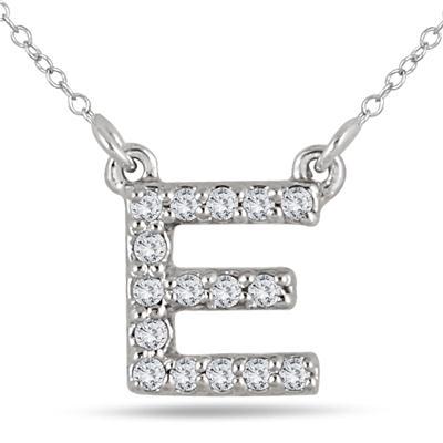 1/10 Carat TW E Initial Diamond Pendant in 10K White Gold