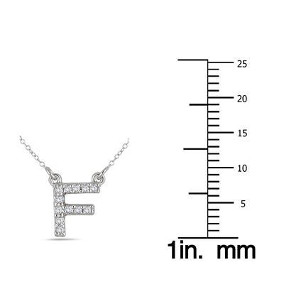 1/10 Carat TW F Initial Diamond Pendant in 10K White Gold