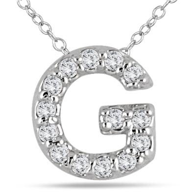 1/10 Carat TW G Initial Diamond Pendant in 10K White Gold