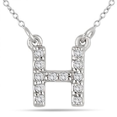 1/10 Carat TW H Initial Diamond Pendant in 10K White Gold