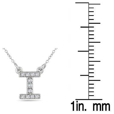 1/10 Carat TW I Initial Diamond Pendant in 10K White Gold