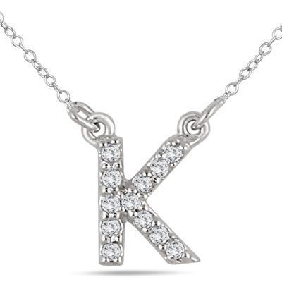 1/10 Carat TW K Initial Diamond Pendant in 10K White Gold