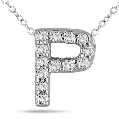 1/10 Carat TW P Initial Diamond Pendant in 10K White Gold