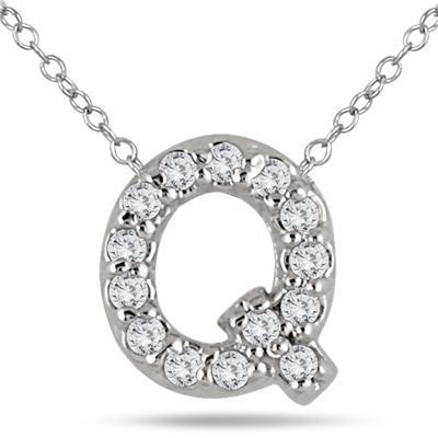 1/10 Carat TW Q Initial Diamond Pendant in 10K White Gold