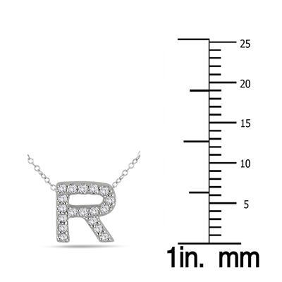 1/6 Carat TW R Initial Diamond Pendant in 10K White Gold