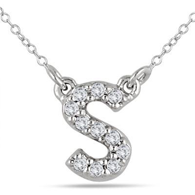 1/10 Carat TW S Initial Diamond Pendant in 10K White Gold