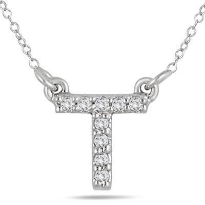 T Initial Diamond Pendant in 10K White Gold
