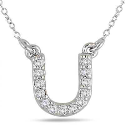 1/10 Carat TW U Initial Diamond Pendant in 10K White Gold