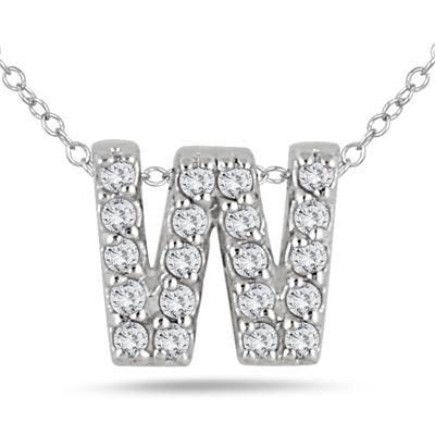 1/6 Carat TW W Initial Diamond Pendant in 10K White Gold
