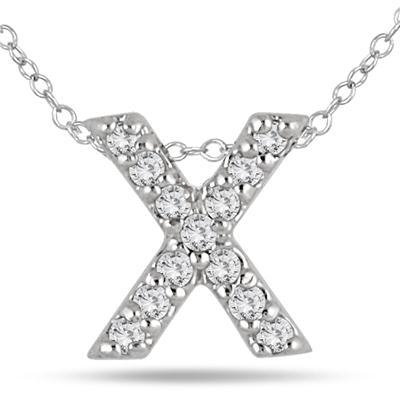 1/10 Carat TW X Initial Diamond Pendant in 10K White Gold