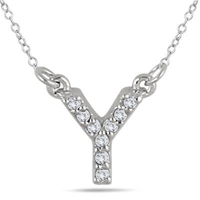 Y Initial Diamond Pendant in 10K White Gold