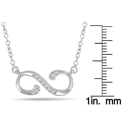 1/10 Carat TW Diamond Infinity Pendant in 10K White Gold
