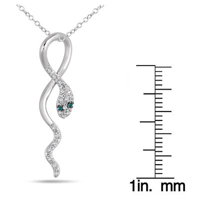 1/10 Carat TW Blue and White Diamond Snake Pendant in 10K White Gold