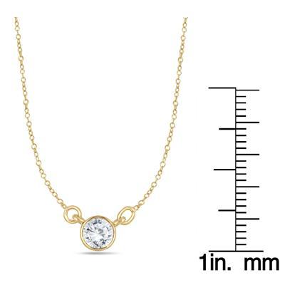 1/2 Carat Diamond Bezel Necklace in 14K Yellow Gold