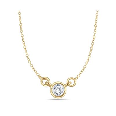 1/4 Carat Diamond Bezel Pendant in 14K Yellow Gold