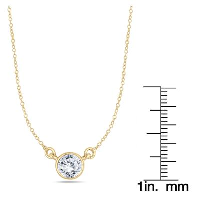 1 Carat Diamond Bezel Pendant in 14K Yellow Gold