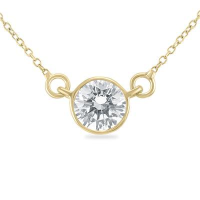 1 Carat Diamond Bezel Pendant in 14K Yellow Gold