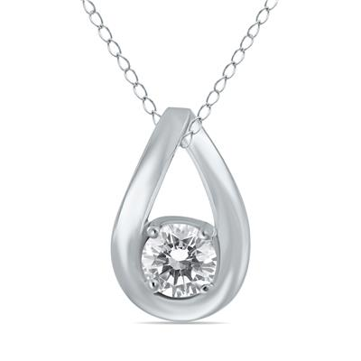 1/2 Carat Tear Drop Diamond Solitaire Pendant in 10K White Gold