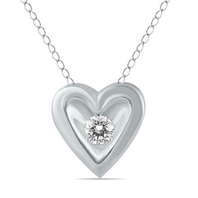 1/4 Carat Diamond Heart Solitaire Pendant in 10K White Gold