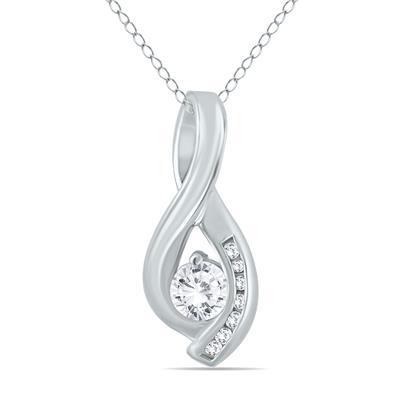 1/2 Carat TW Diamond Twist Pendant in 10K White Gold