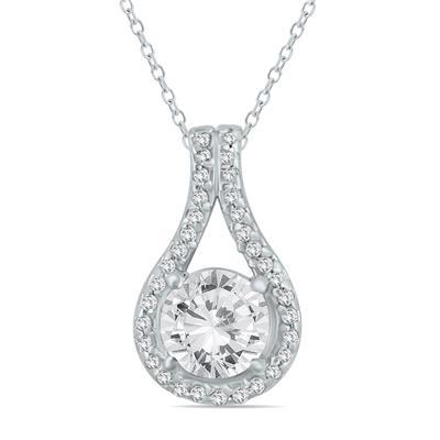 1 1/5 Carat TW Diamond Halo Loop Pendant in 10K White Gold