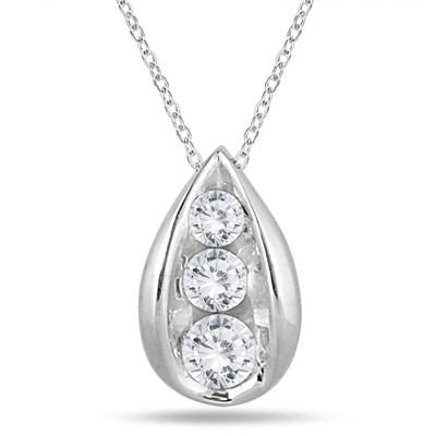 1/2 Carat TW Three Stone Diamond Tear Drop Pendant in 14K White Gold