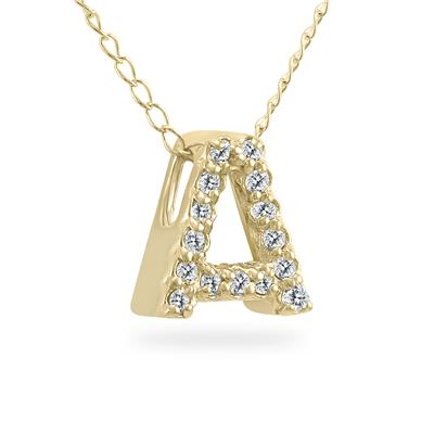 1/10 Carat TW A Initial Diamond Pendant in 10K Yellow Gold