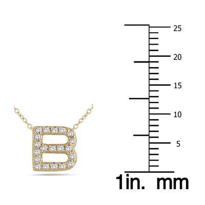 1/6 Carat TW B Initial Diamond Pendant in 10K Yellow Gold