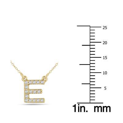 1/10 Carat TW E Initial Diamond Pendant in 10K Yellow Gold