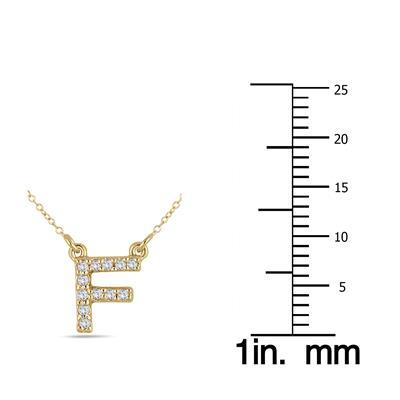 1/10 Carat TW F Initial Diamond Pendant in 10K Yellow Gold