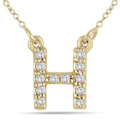1/10 Carat TW H Initial Diamond Pendant in 10K Yellow Gold