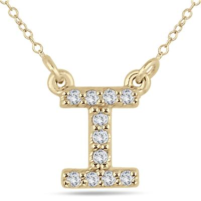 1/10 Carat TW I Initial Diamond Pendant in 10K Yellow Gold