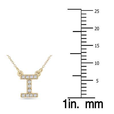 1/10 Carat TW I Initial Diamond Pendant in 10K Yellow Gold