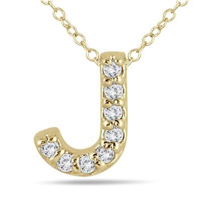 J Initial Diamond Pendant in 10K Yellow Gold