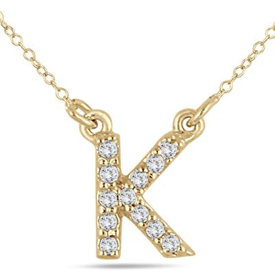 1/10 Carat TW K Initial Diamond Pendant in 10K Yellow Gold