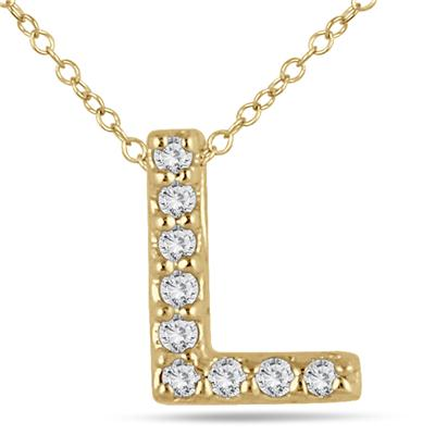 L Initial Diamond Pendant in 10K Yellow Gold
