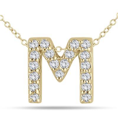 1/6 Carat TW M Initial Diamond Pendant in 10K Yellow Gold