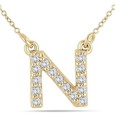 1/10 Carat TW N Initial Diamond Pendant in 10K Yellow Gold