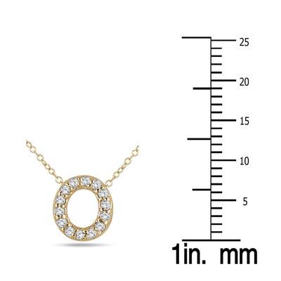 1/10 Carat TW O Initial Diamond Pendant in 10K Yellow Gold