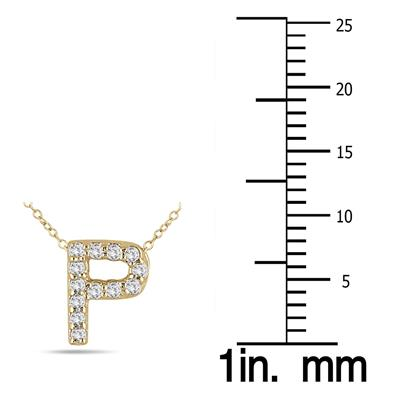 1/10 Carat TW P Initial Diamond Pendant in 10K Yellow Gold