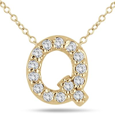 1/10 Carat TW Q Initial Diamond Pendant in 10K Yellow Gold