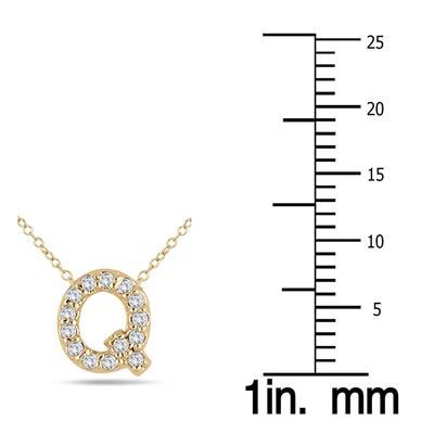 1/10 Carat TW Q Initial Diamond Pendant in 10K Yellow Gold
