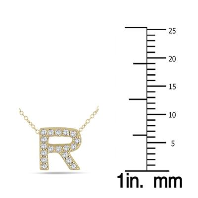 1/8 Carat TW R Initial Diamond Pendant in 10K Yellow Gold
