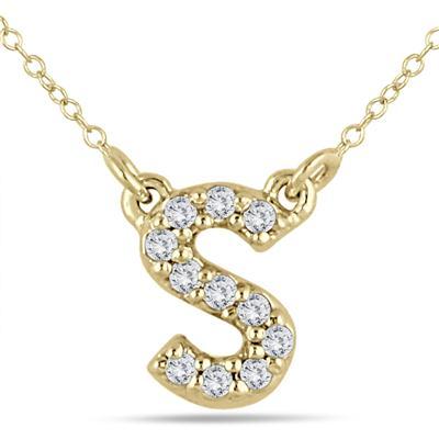 1/10 Carat TW S Initial Diamond Pendant in 10K Yellow Gold