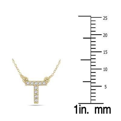 T Initial Diamond Pendant in 10K Yellow Gold