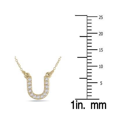 1/10 Carat TW U Initial Diamond Pendant in 10K Yellow Gold