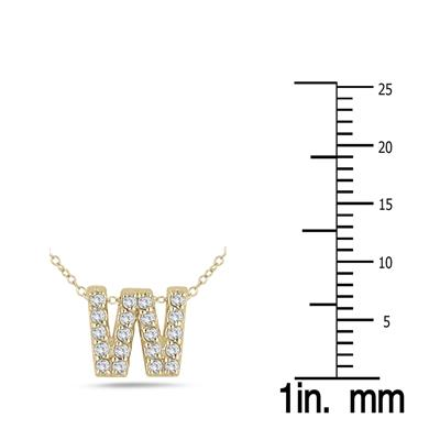 1/6 Carat TW W Initial Diamond Pendant in 10K Yellow Gold