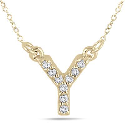 Y Initial Diamond Pendant in 10K Yellow Gold